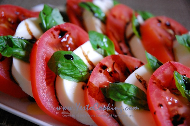 Caprese Salad with Balsamic Vinegar Reduction- Yes to Cooking