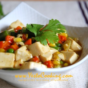 Tofu with Mixed Vegetables in Madras Curry Sauce