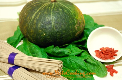 Ingredients- Buckwheat Noodles in Kabocha Squash Soup, Yes to Cooking
