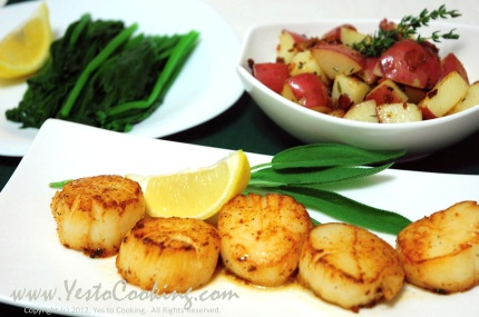 Seared Scallops in Brown Butter Sauce- Yes to Cooking