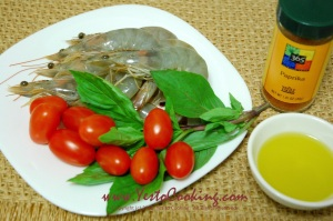 Ingredients- Paprika Shrimp with Grape Tomatoes and Basil, Yes to Cooking