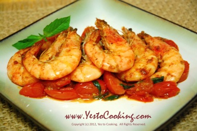 Paprika Shrimp with Grape Tomatoes and Basil, Yes to Cooking