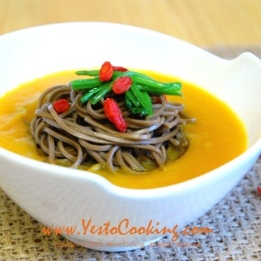 Soba Noodles in Kabocha SquashSoup