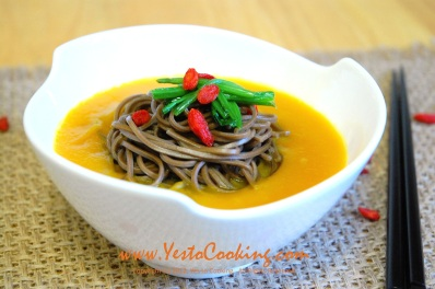 Buckwheat Noodles in Kabocha Squash Soup, Yes to Cooking