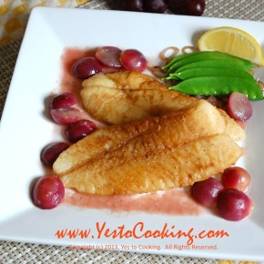 Orange Roughy Fillet with White Wine and Grape Sauce