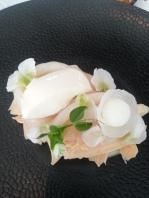 Poached chicken, white radish, sea scallops, pea blossoms.