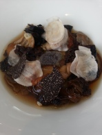 Eight mushrooms, truffle custard, chestnut mushroom consomme.